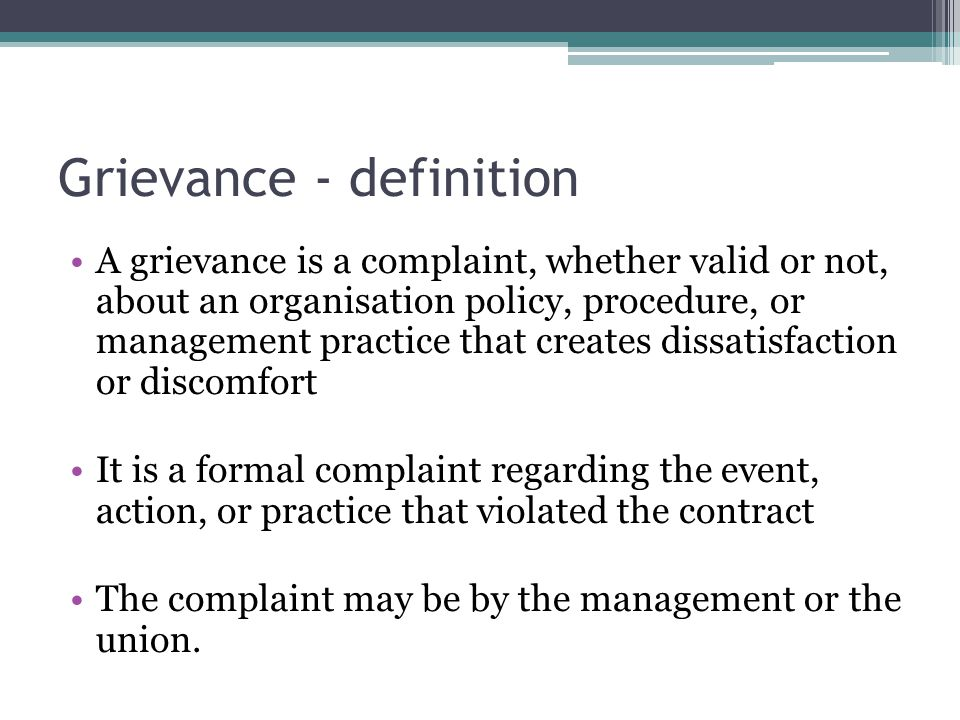 Grievance - definition