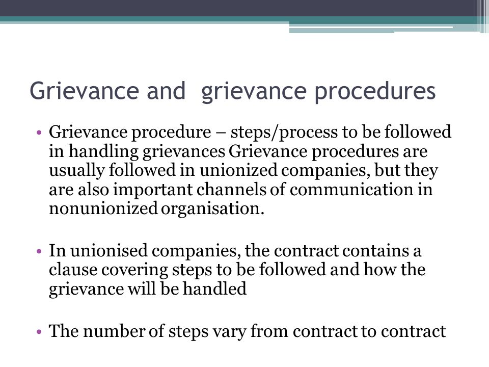 Grievance and grievance procedures