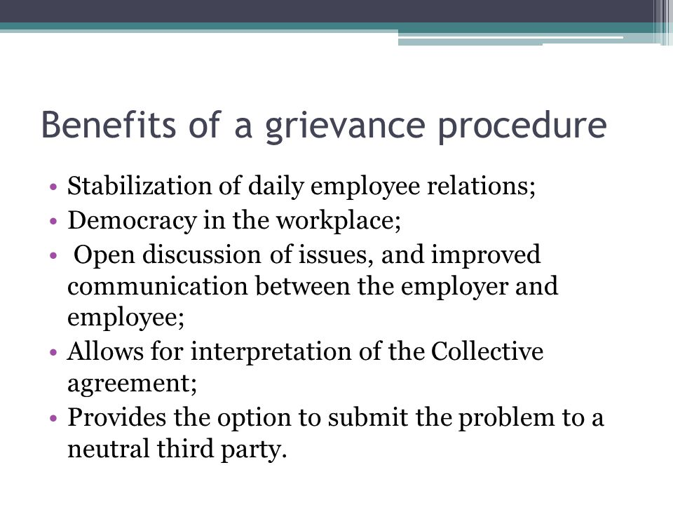 Benefits of a grievance procedure