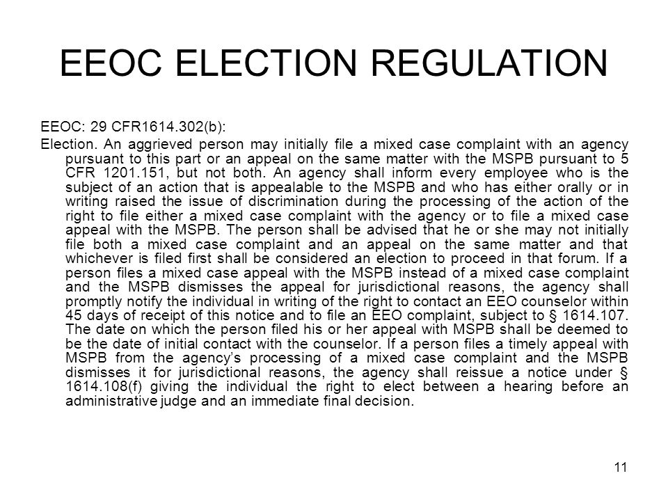 EEOC ELECTION REGULATION