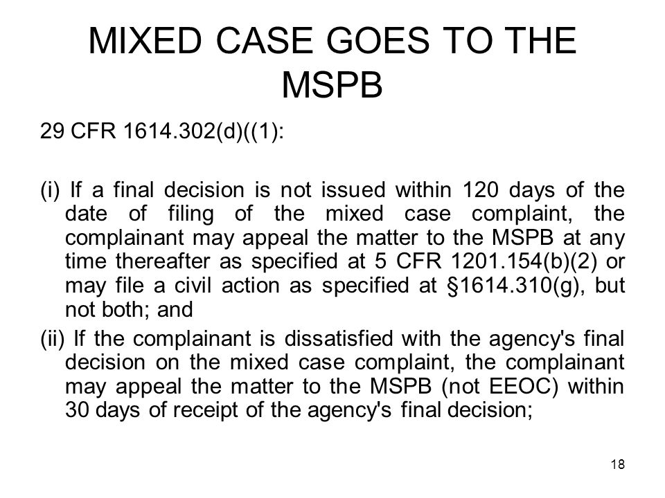 MIXED CASE GOES TO THE MSPB