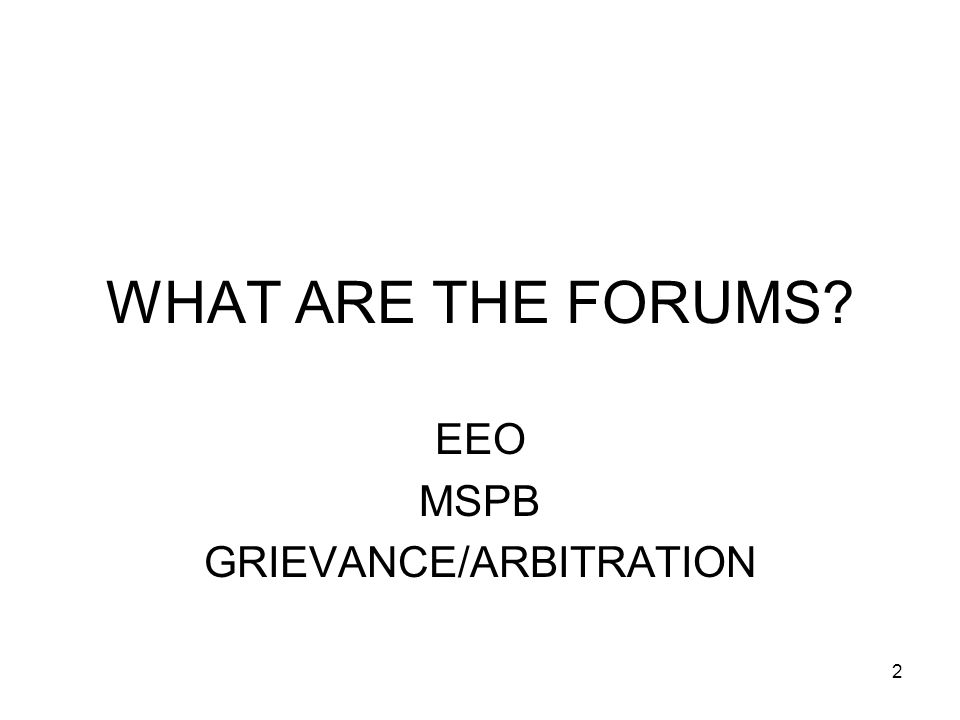EEO MSPB GRIEVANCE/ARBITRATION