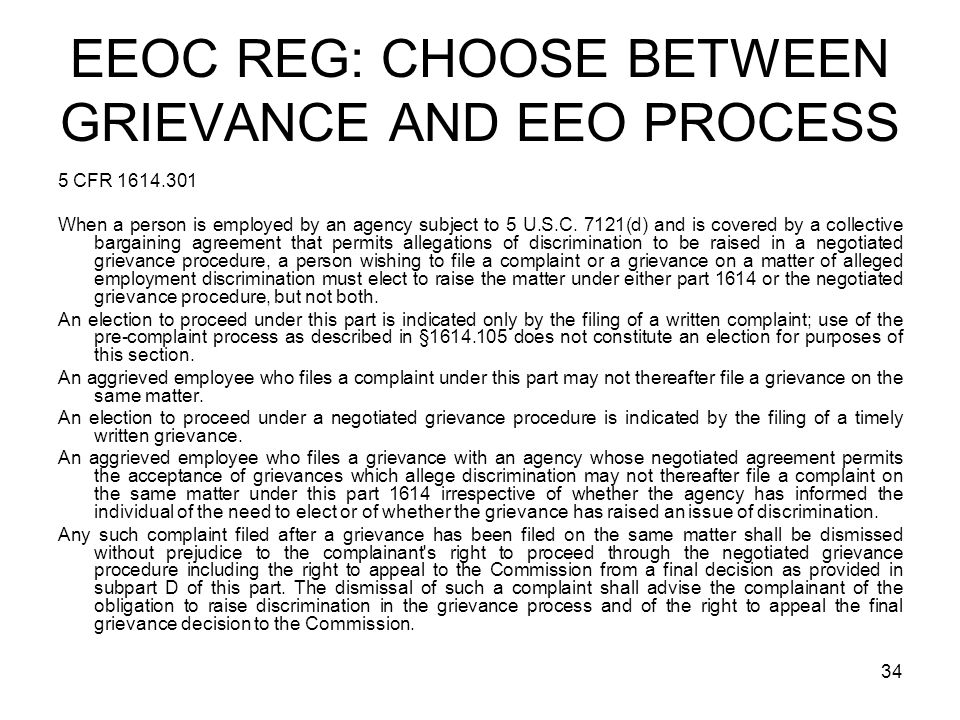 EEOC REG: CHOOSE BETWEEN GRIEVANCE AND EEO PROCESS