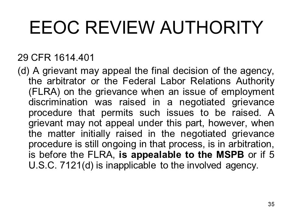 EEOC REVIEW AUTHORITY 29 CFR 1614.401