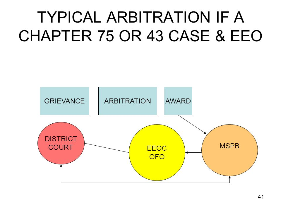 TYPICAL ARBITRATION IF A CHAPTER 75 OR 43 CASE & EEO