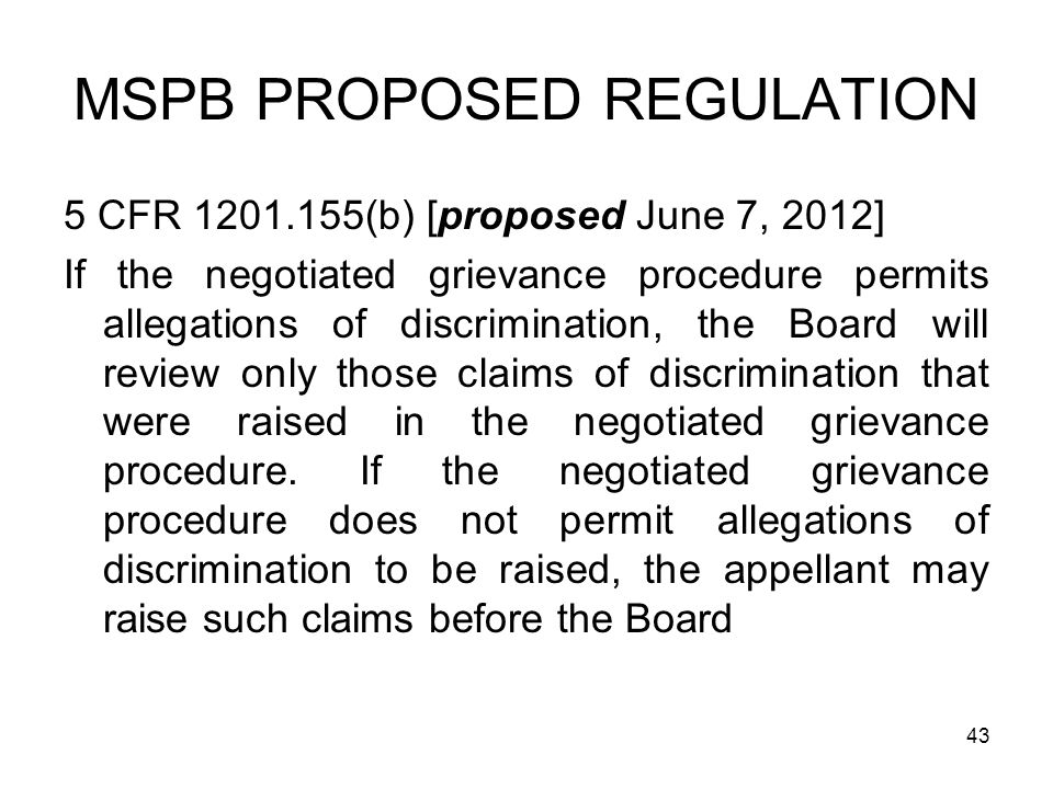 MSPB PROPOSED REGULATION
