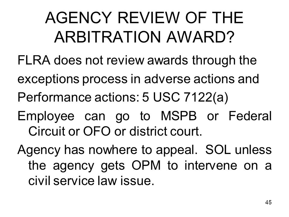 AGENCY REVIEW OF THE ARBITRATION AWARD