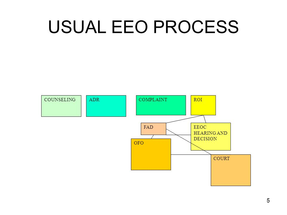 USUAL EEO PROCESS COUNSELING ADR COMPLAINT ROI FAD EEOC