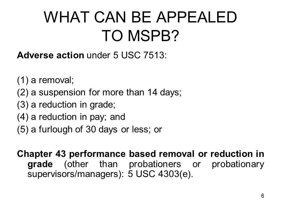 WHAT CAN BE APPEALED TO MSPB