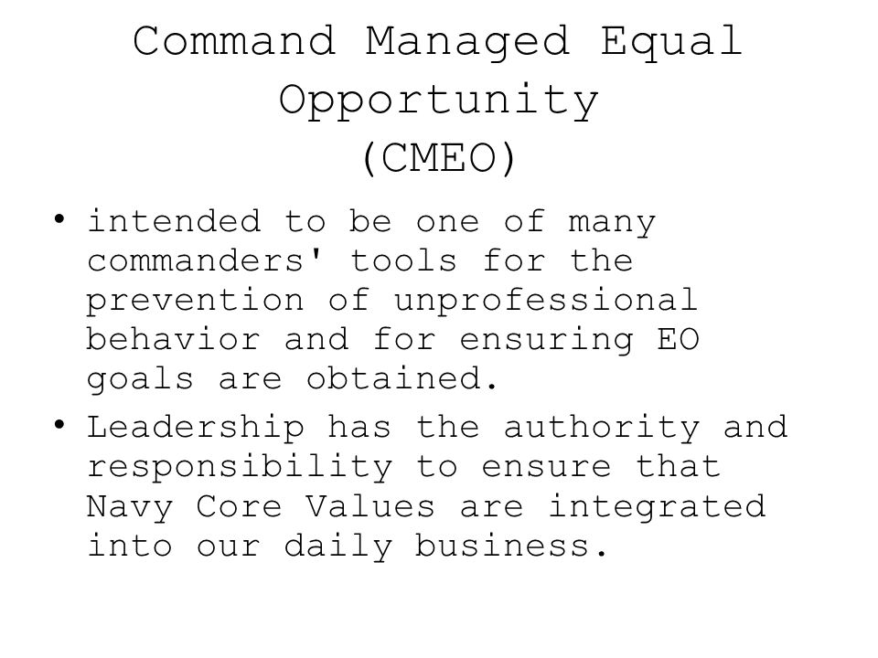 Command Managed Equal Opportunity (CMEO)
