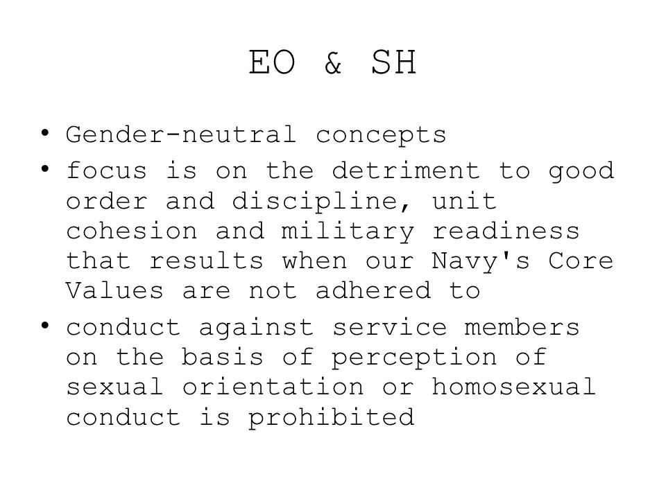 EO & SH Gender-neutral concepts