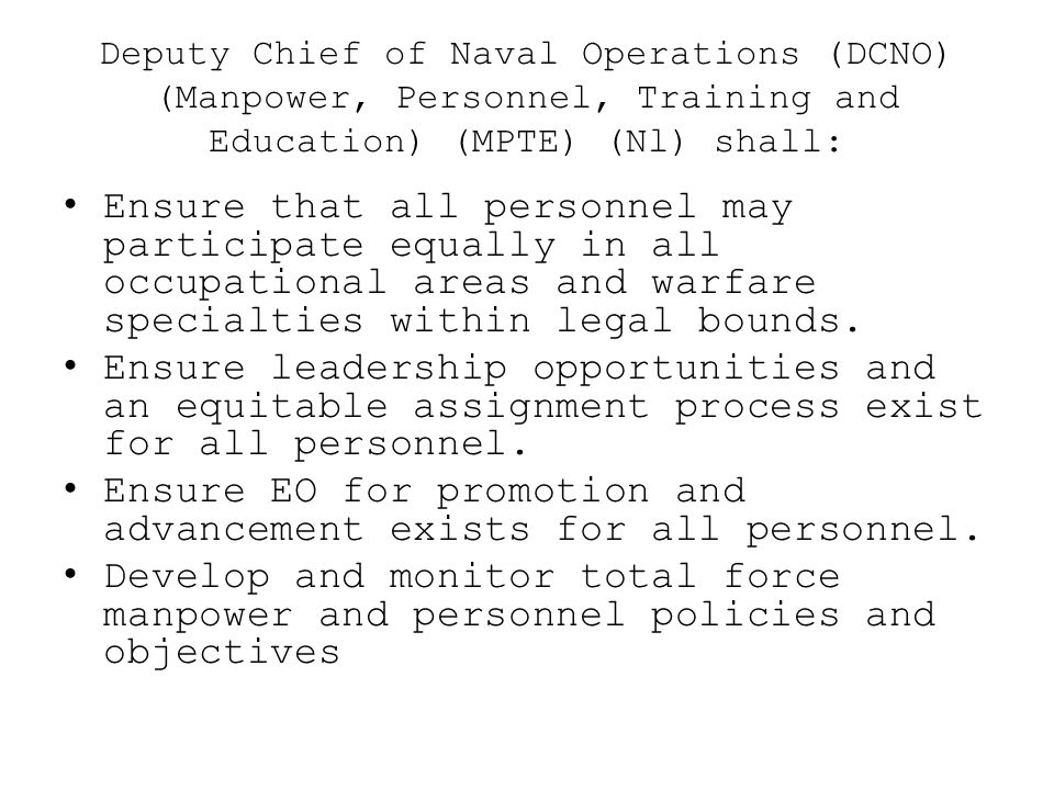 Ensure EO for promotion and advancement exists for all personnel.