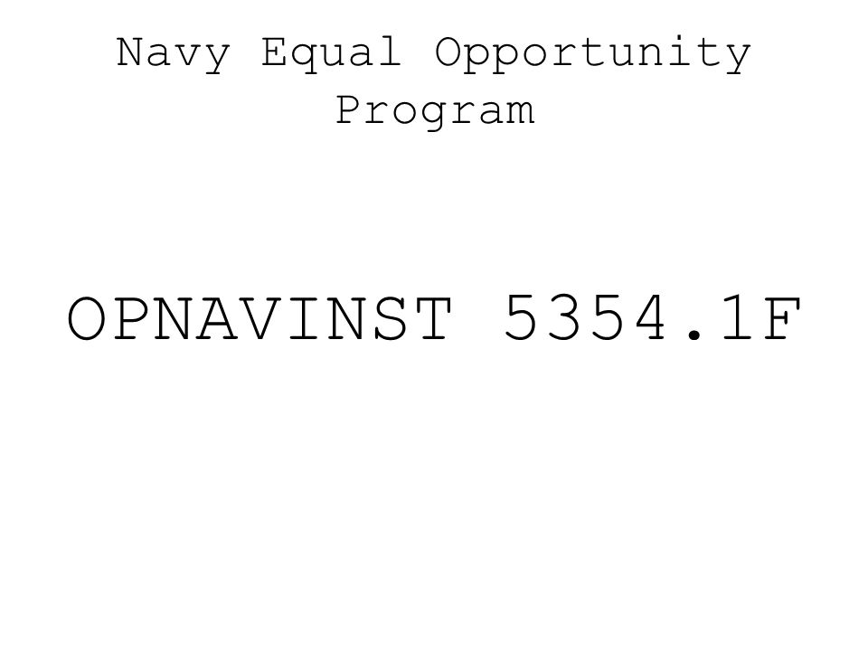 Navy Equal Opportunity Program