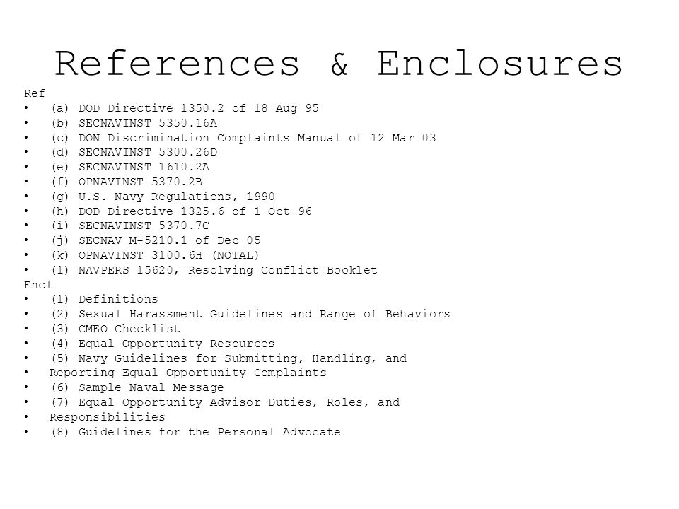 References & Enclosures