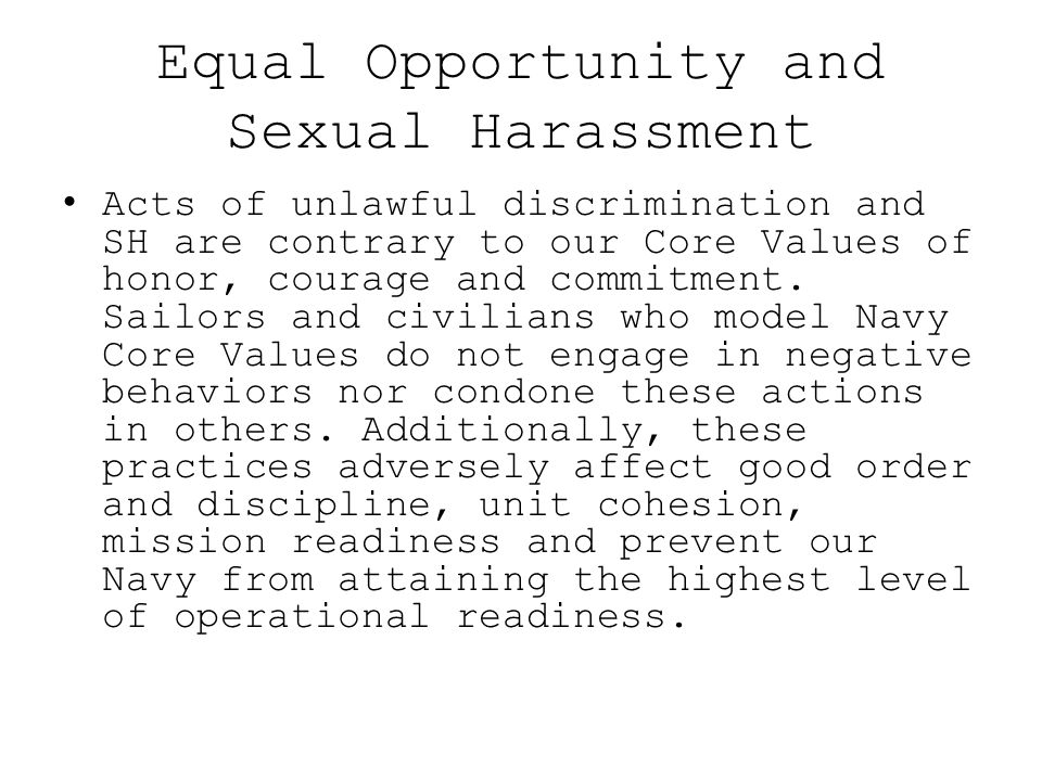Equal Opportunity and Sexual Harassment