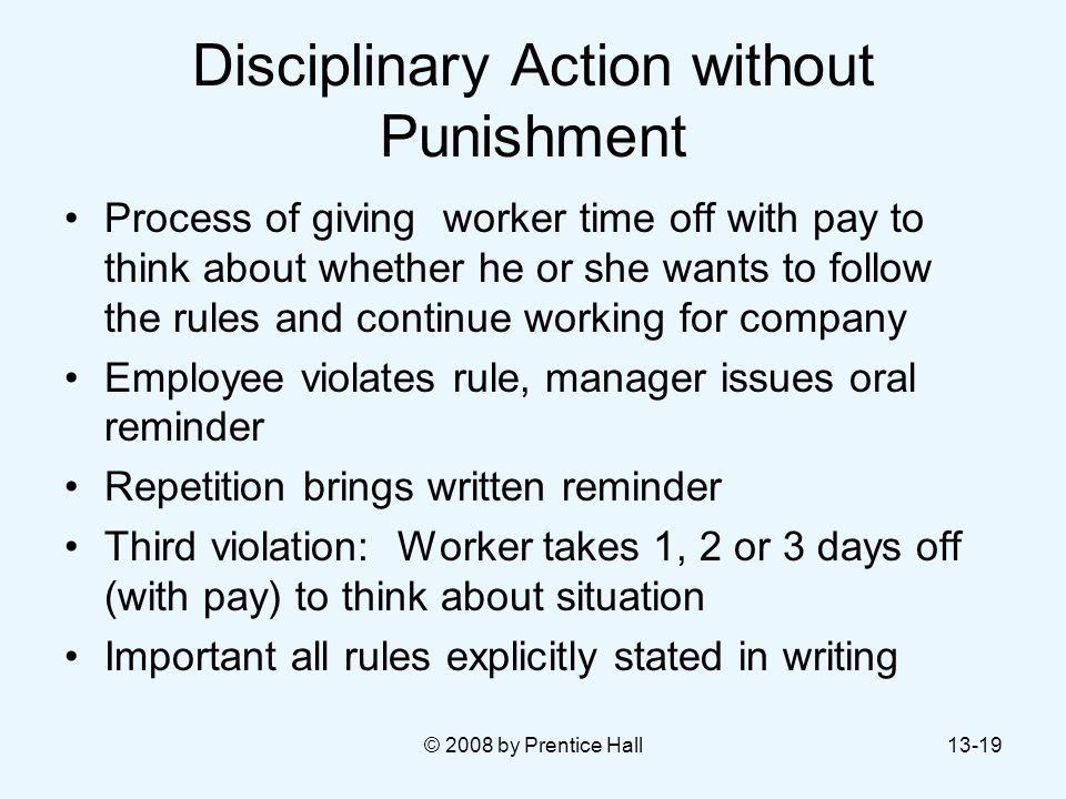 Disciplinary Action without Punishment