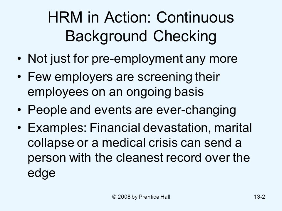 HRM in Action: Continuous Background Checking