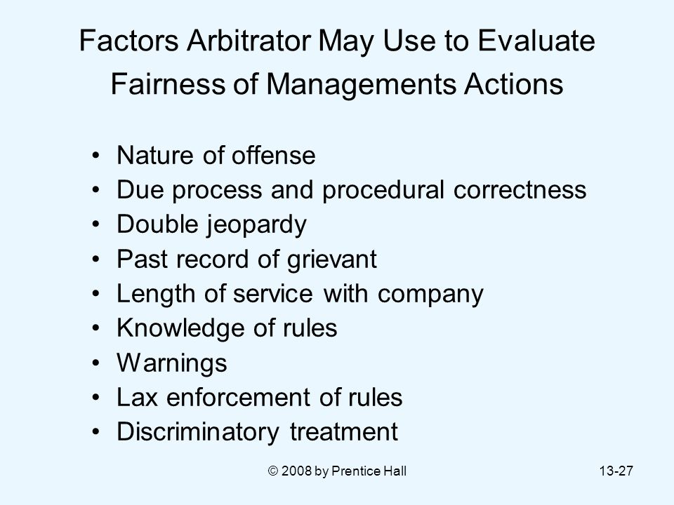 Factors Arbitrator May Use to Evaluate Fairness of Managements Actions