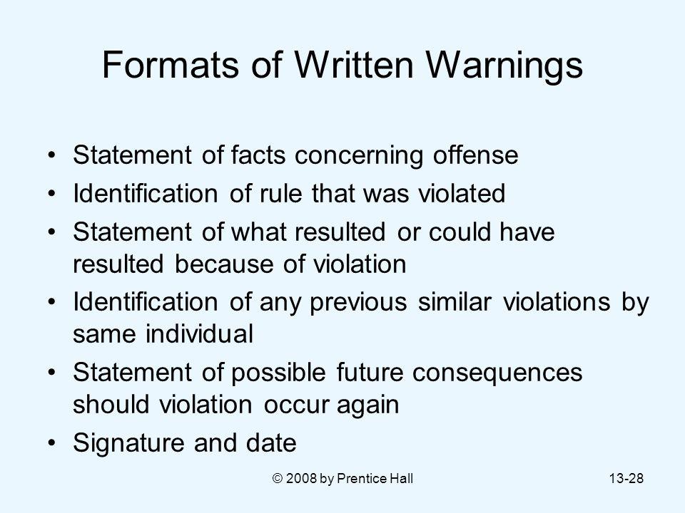 Formats of Written Warnings