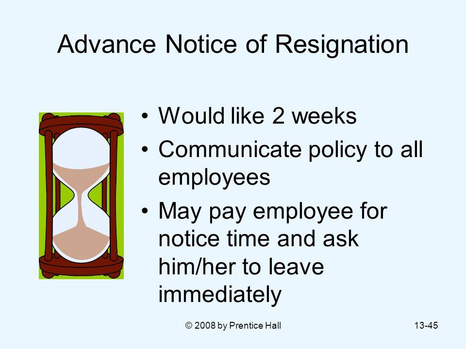 Advance Notice of Resignation