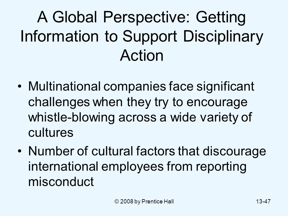 A Global Perspective: Getting Information to Support Disciplinary Action
