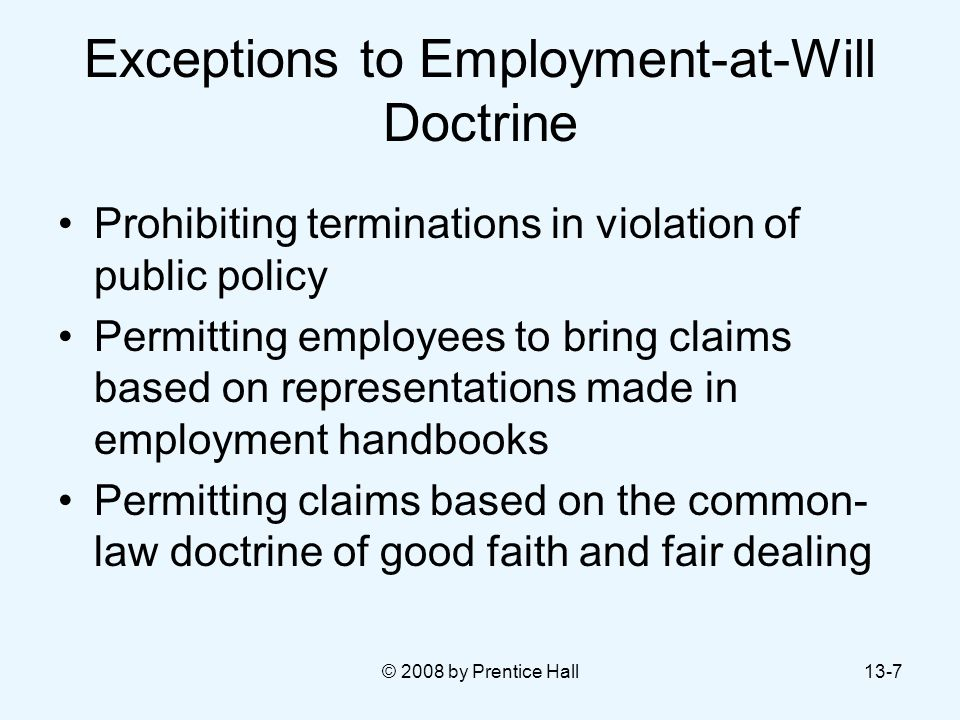 Exceptions to Employment-at-Will Doctrine