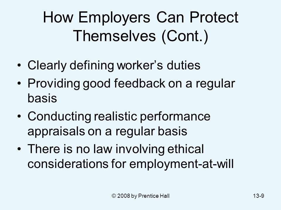 How Employers Can Protect Themselves (Cont.)