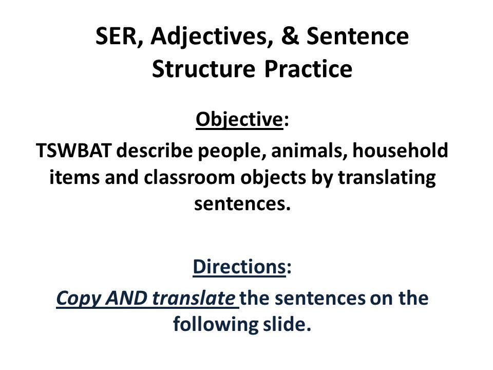SER, Adjectives, & Sentence Structure Practice