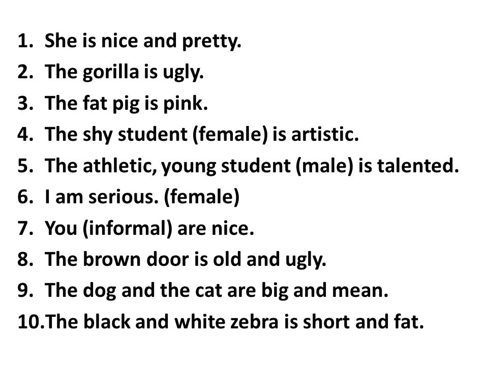 She is nice and pretty. The gorilla is ugly. The fat pig is pink. The shy student (female) is artistic.