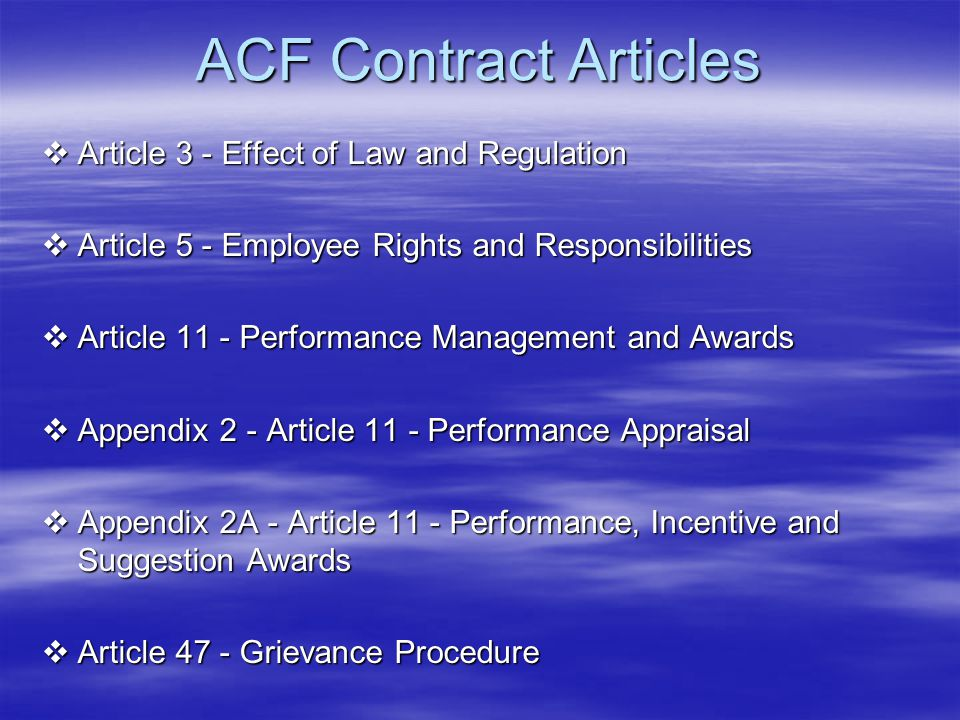 ACF Contract Articles Article 3 - Effect of Law and Regulation