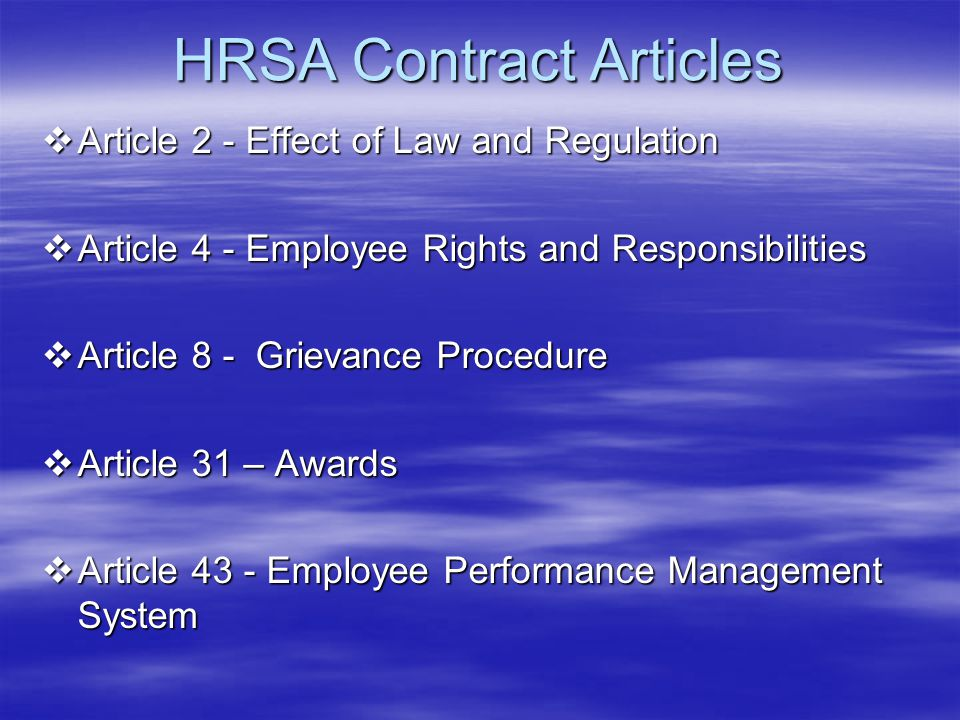 HRSA Contract Articles