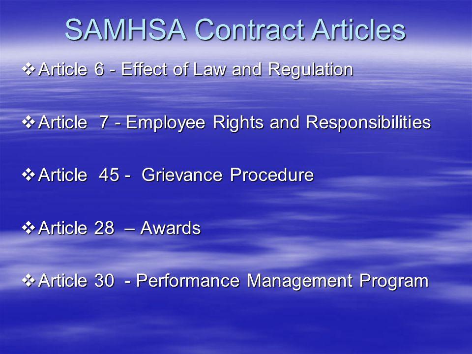 SAMHSA Contract Articles