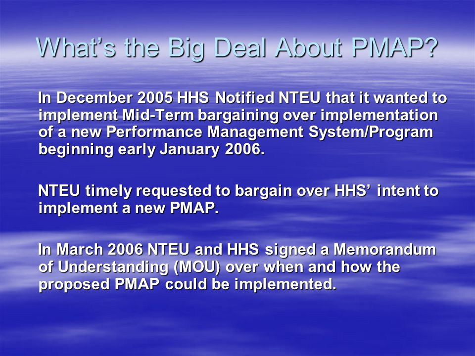 What's the Big Deal About PMAP