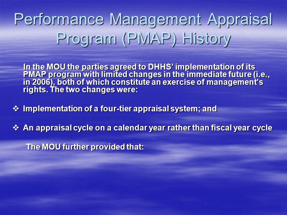 Performance Management Appraisal Program (PMAP) History