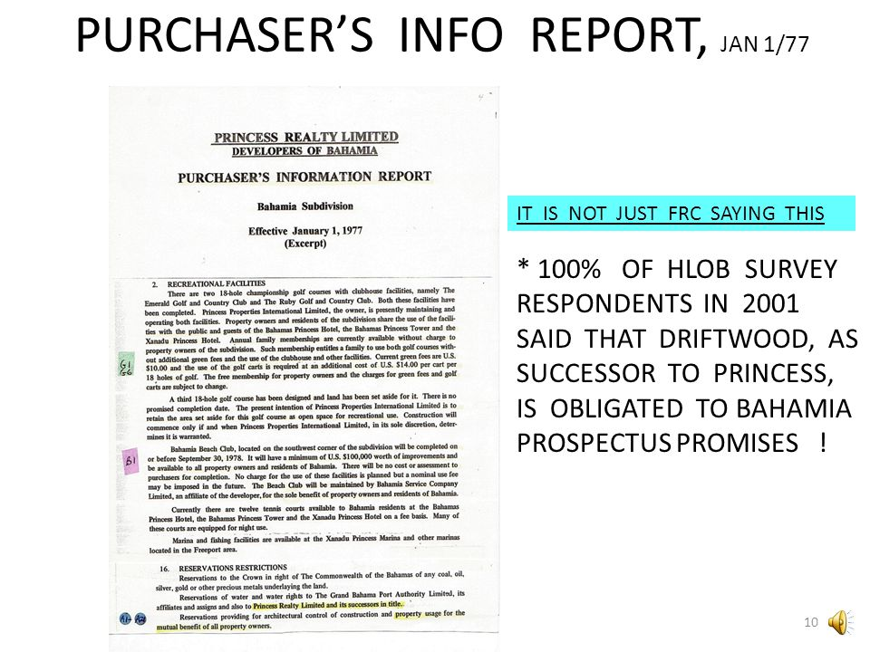 PURCHASER'S INFO REPORT, JAN 1/77