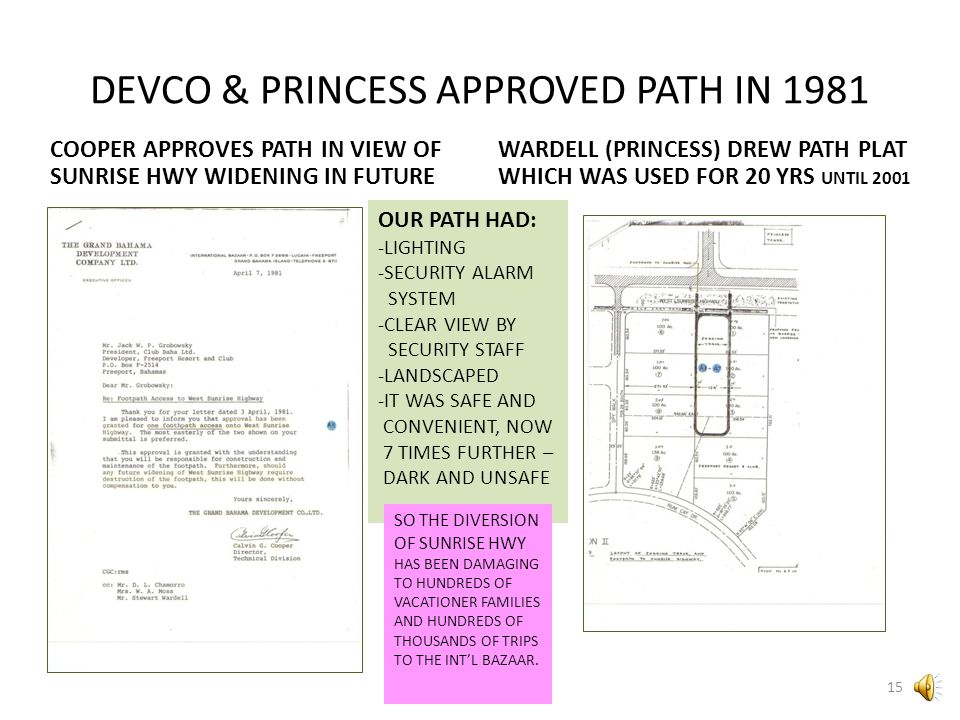 DEVCO & PRINCESS APPROVED PATH IN 1981