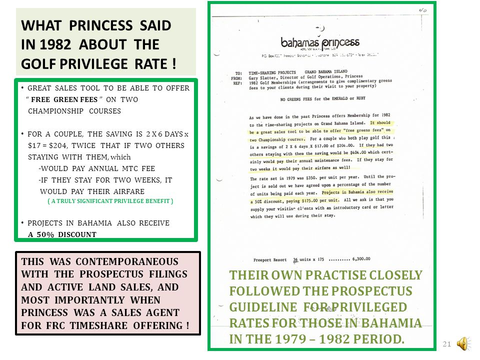 WHAT PRINCESS SAID IN 1982 ABOUT THE GOLF PRIVILEGE RATE !