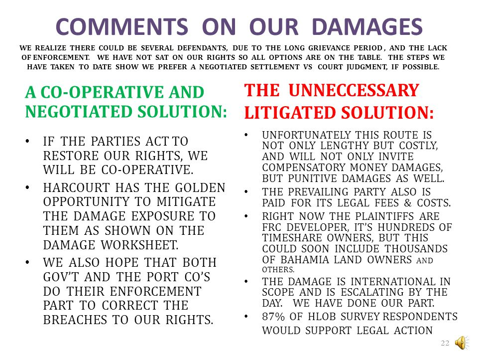 COMMENTS ON OUR DAMAGES