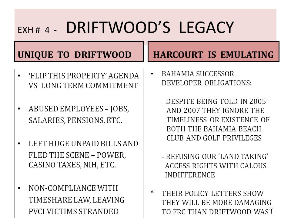 EXH # 4 - DRIFTWOOD'S LEGACY
