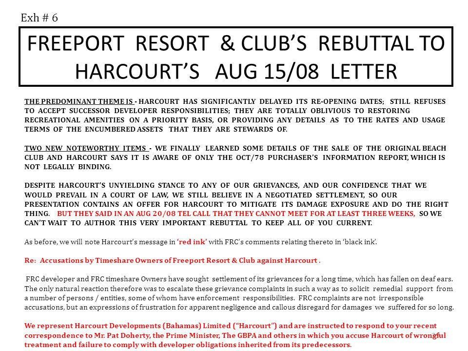 FREEPORT RESORT & CLUB'S REBUTTAL TO HARCOURT'S AUG 15/08 LETTER