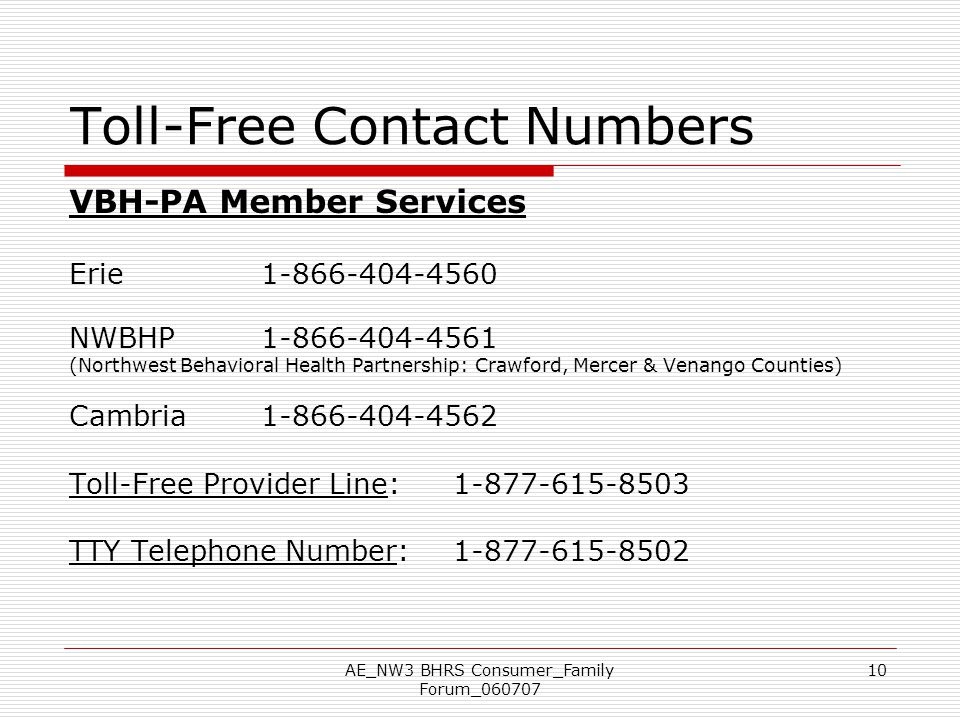 Toll-Free Contact Numbers