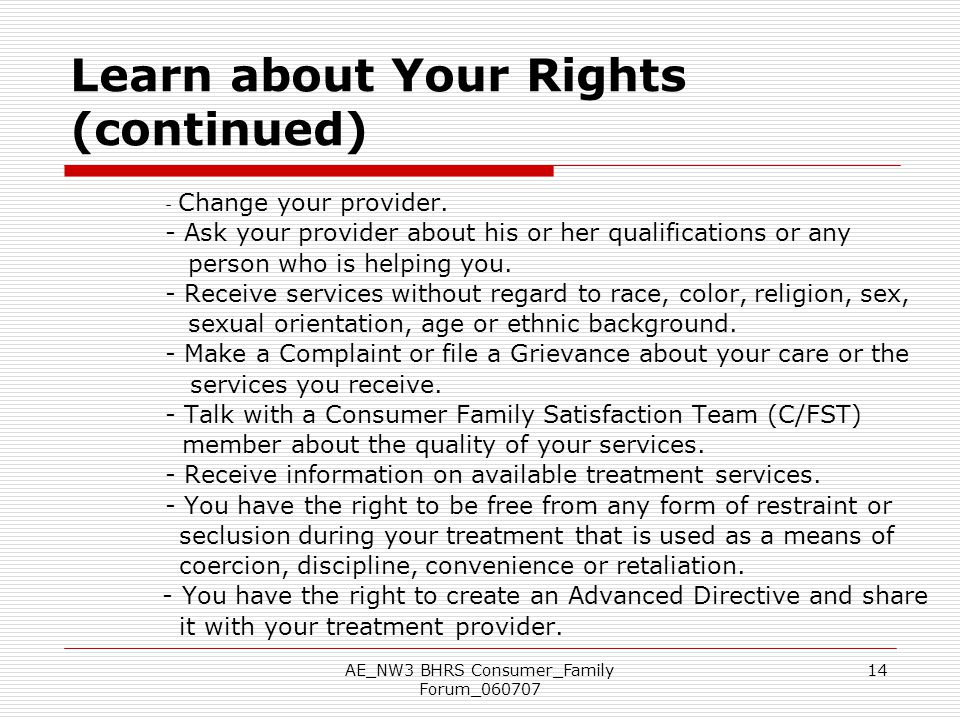 Learn about Your Rights (continued)