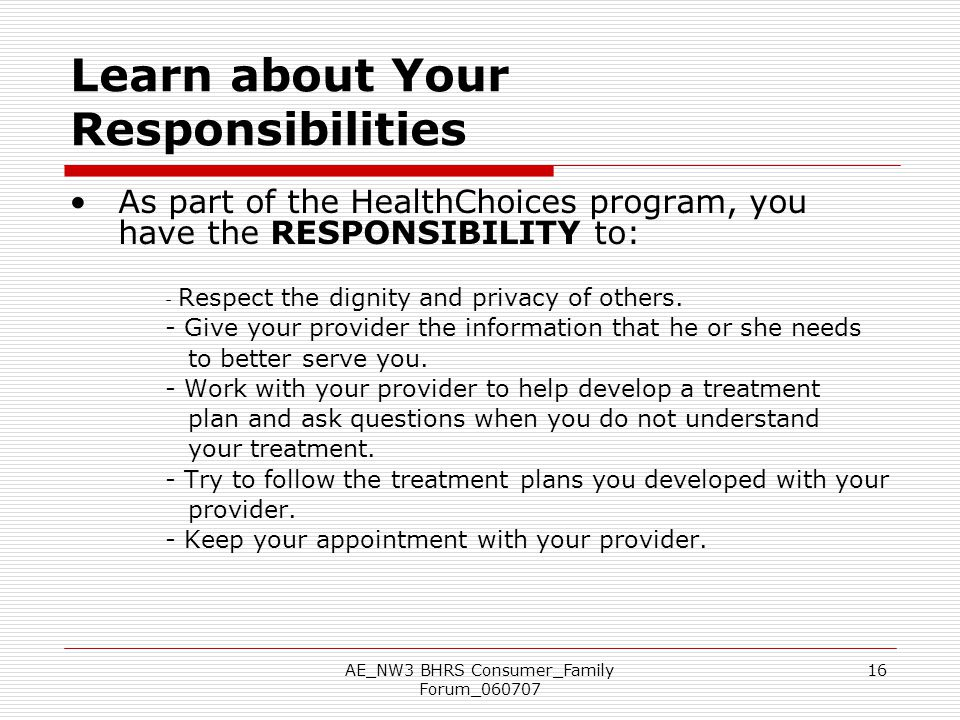 Learn about Your Responsibilities