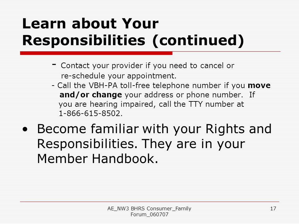 Learn about Your Responsibilities (continued)