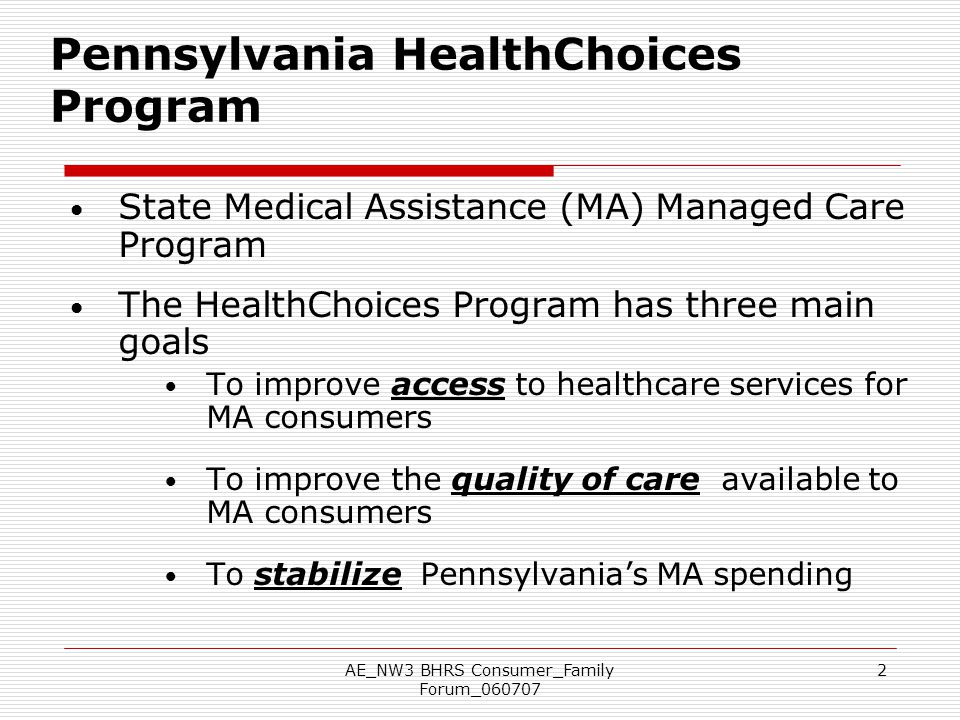 Pennsylvania HealthChoices Program