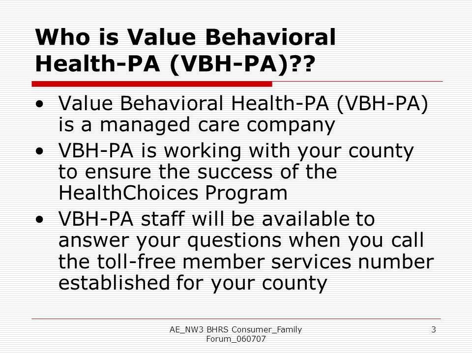 Who is Value Behavioral Health-PA (VBH-PA)
