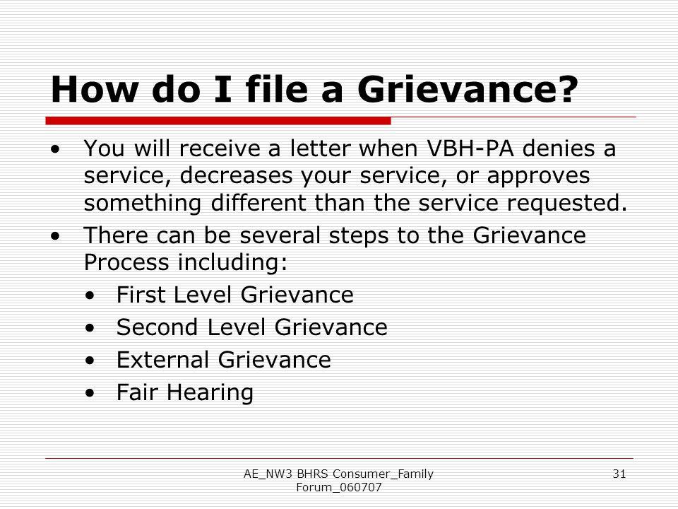 How do I file a Grievance