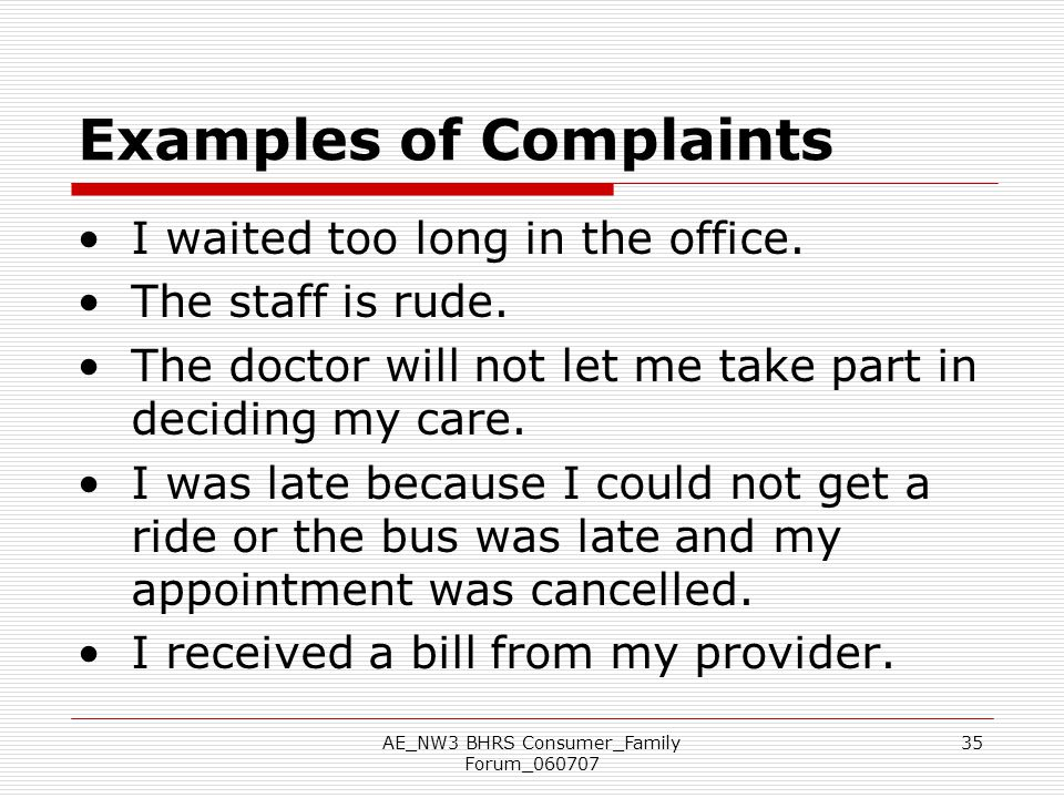 Examples of Complaints