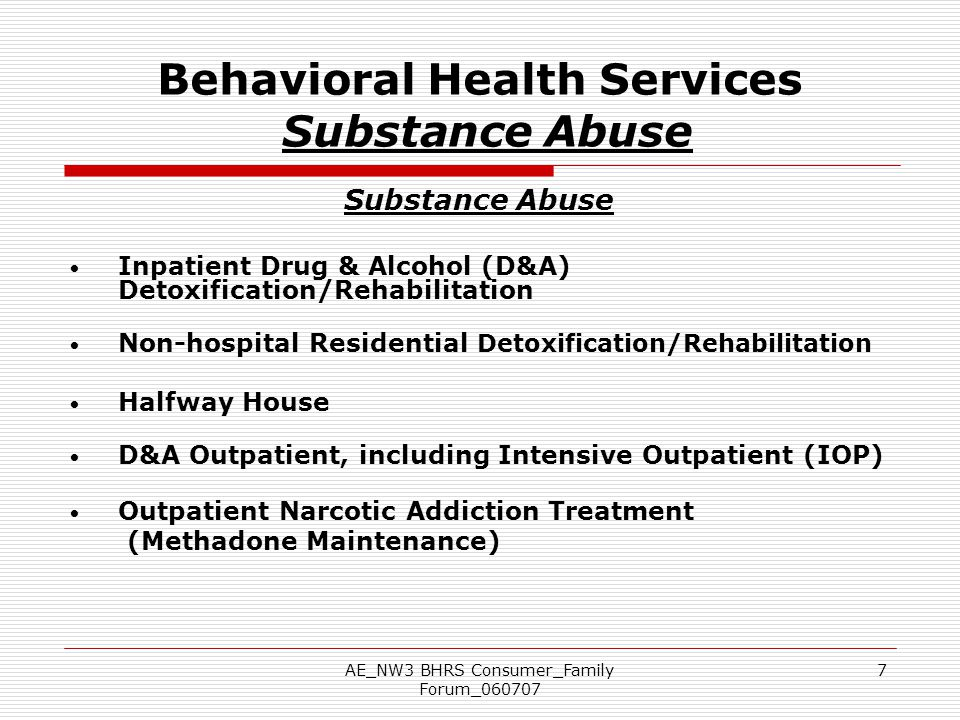 Behavioral Health Services Substance Abuse