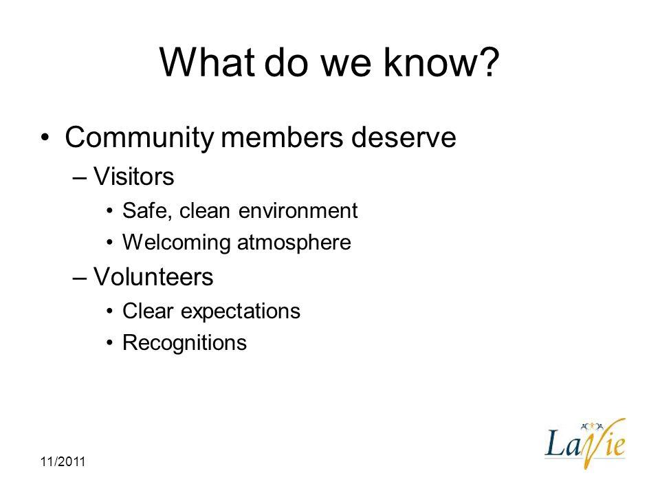 What do we know Community members deserve Visitors Volunteers